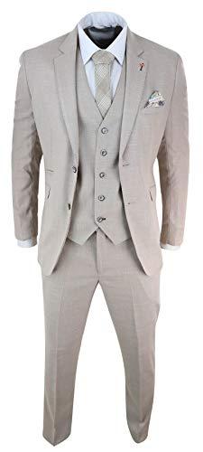 Traje de 3 Piezas, Lino, Crema Beige, 2 botónes, Ajuste a Medida, clásico, Retro para Hombre - Crema 54EU Chaqueta, 38W pantalón