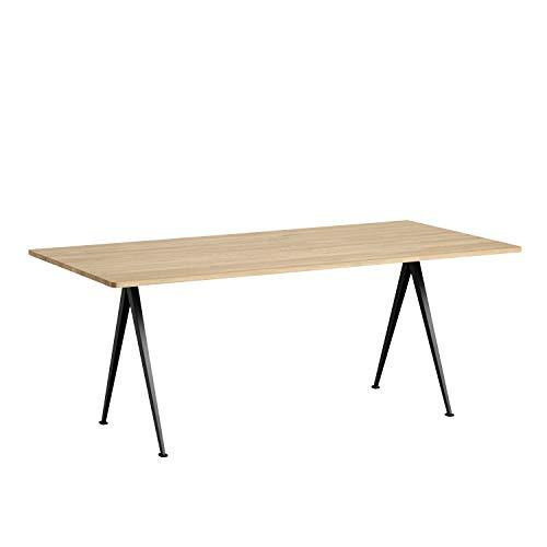 HAY piramid tafel 02 tafel 190x85 cm Gestell schwarz pulverbeschichtet/H 74cm Eik/mat gelakt.