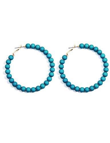 ZENZII Colorful Beaded Big Circle Hoop Fashion Earrings for Women (Teal)