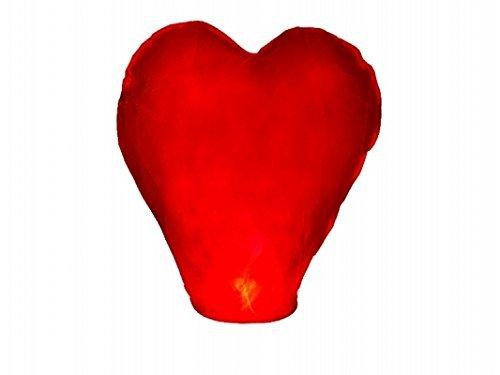 Sky Lantern Lot de 5 lanternes chinoises volantes en forme de cœur, pour un mariage, Rouge