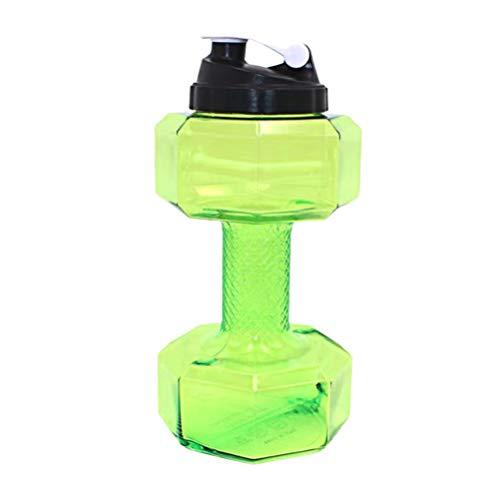 WINOMO Hantel Geformte Wasserflasche Sport Wasserkrug 2. 2L Fahrradtrinkflasche Große Kapazität für Fitness-Studio Yoga Laufen Camping Reisen Grün