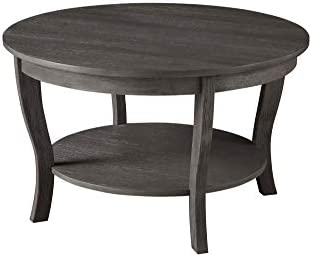 Best Convenience Concepts American Heritage Round Coffee Table, Dark Gray Wirebrush