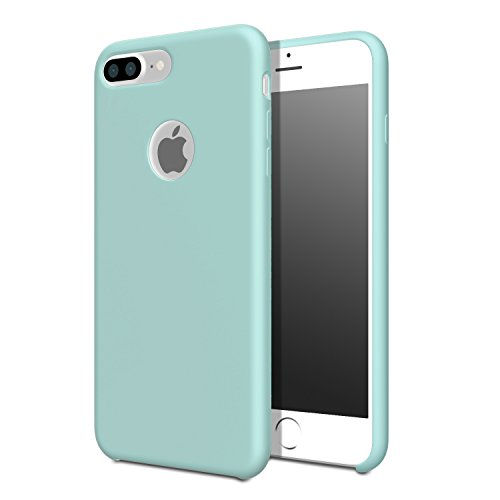 for iPhone 7 Plus Case - MoKo Slim Shockproof Liquid Silicone Gel Rubber Protective Case Soft Touch Back Cover for Apple iPhone 7 Plus 2016, Sea Blue (Mint Green)