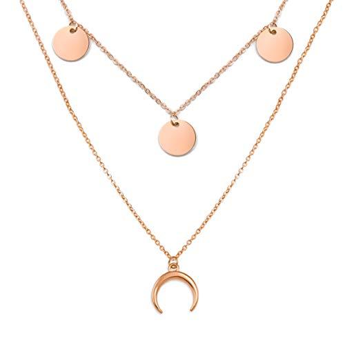 SHINE & WANDER Tiny Island Moon Necklace Bundle | Layered Damen Edelstahl Halskette mit Plättchen und Mond Anhänger (Roségold)