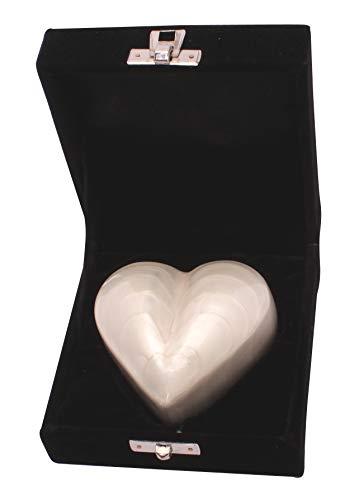 Kleine Urne für Asche, herzförmig, mit Herzmotiv, Perlweiß