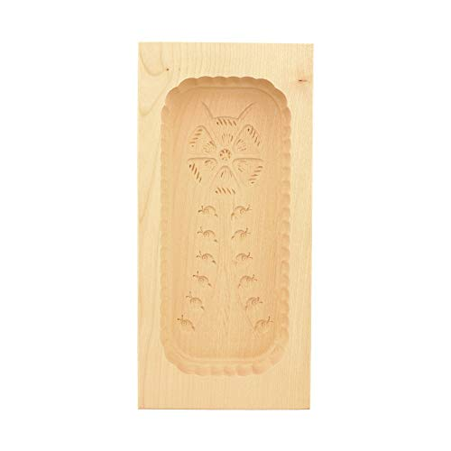 HOFMEISTER® Butterform, für 500 g Butter, 25 cm, Blumenstrauß, handgefertigt in Deutschland, Butter-Form zum Dekorieren, eckige Sturz-Form, Butter-Model aus heimischem Ahorn-Holz