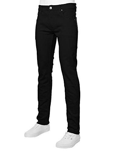 URBAN K Men's Skinny Fit Jeans,Black,32W x 32L