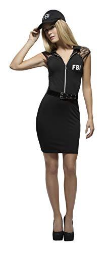 Smiffys 44535M - Fever Damen FBI Agentin Kostüm, Größe: 40-42, schwarz
