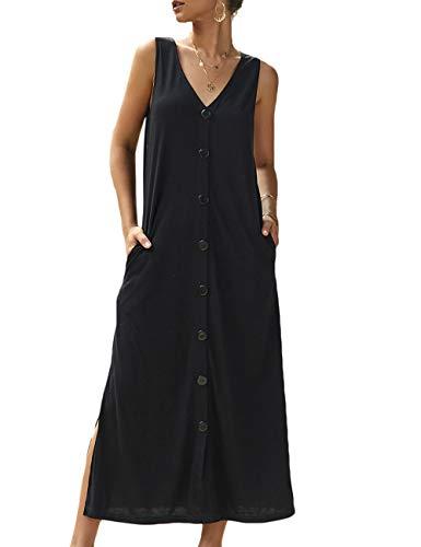 Sommhron Dames casual mouwloze V-hals jurk split zomerjurk met knoopsluiting