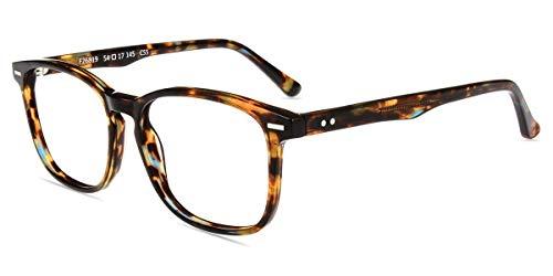 Firmoo Blaulichtfilter Brille Damen Herren, Entspiegelte Brille ohne Sehstärke Anti Blaulicht UV Schutz für Bildschirme, Eckige Blaufilter Gaming Brille Bunt