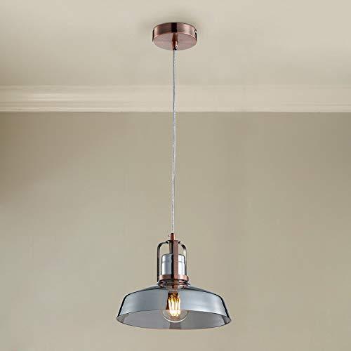 Lampada da soffitto a sospensione in vetro fumé Saint Mossi, diametro 27 cm, altezza 40, finitura bronzo
