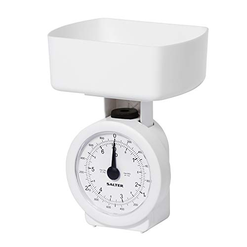 Salter Compact Mechanical Kitchen Scale - Compact, Analogue, Easy to Read, Large Clock Face Style Scales, Dishwasher Safe Bowl, Scale Fits Inside Bowl for Easy Storage, 3 kg Maximum Weight - White