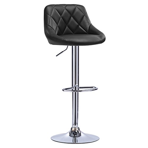 WOLTU Bar Stool Black Bar Chair Breakfast Dining Stool Chair for Kitchen Island Counter Leatherette Exterior, Adjustable Swivel Gas Lift, Steel Footrest & Base