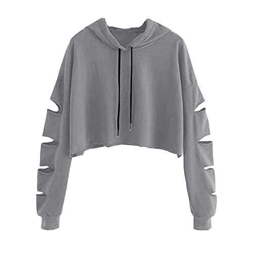 Sweat-Shirt à Capuche Femme, Femmes de Long Sweatshirt Hoodies Grande Taille Veste de Sport avec Poches Pull Pullover Tops Blouse à Manches Longues Tops Blouse Shirt Streetwear