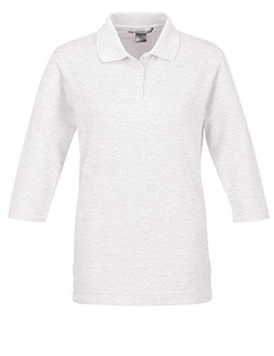 A&E Designs Ladies Aurora 3/4 Sleeve Polo Shirt, White, 2XL
