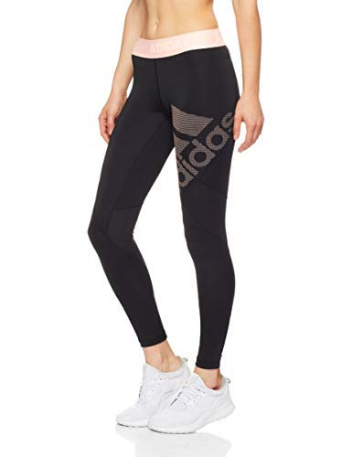 adidas Damen Alphaskin Sport Long Tight, Black/Clear Orange, L