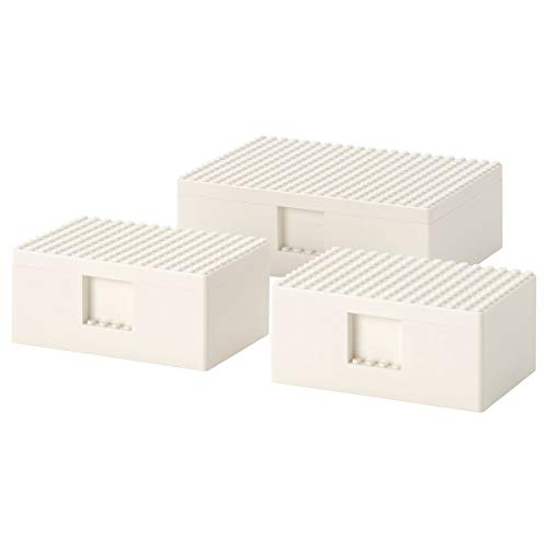 IKEA BYGGLEK LEGO® Box mit Deckel, 3er-Set, weiß