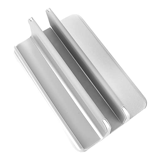 Walmeck Aluminum Alloy Laptop Vertical Stand Base Silicone Width Adjustable Laptop/Phone/Tablet Storage Base Silver