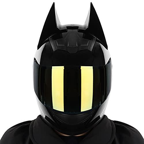 Casque Batman Approuvé Par le Dot/ece, Moto électrique pour Hommes et Femmes, Casque Intégral de Motocross de Course Cool, Casque Moto Knight pour Hommes, Casques Modulaires,#1,L
