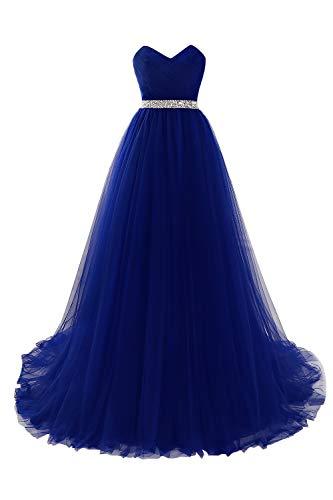 MisShow Damen elegant Tüll Büstier Abendkleider Ballkleider Abschlusskleider Maxilang Kleider Royalblau 32