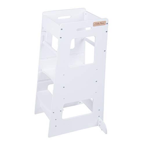 KiddyMoon Torre Di Apprendimento In Legno Per Bambini ST-003, Compensato Legno/Bianco