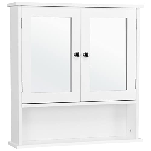Yaheetech Medicine Cabinet Wall Mount Mirror Cabinet with Double Doors and...