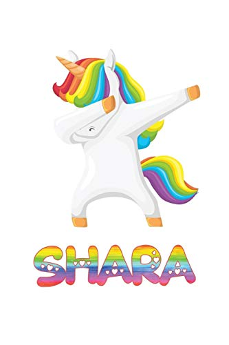 Shara: Shara 6x9 Journal Notebook Dabbing Unicorn Rainbow