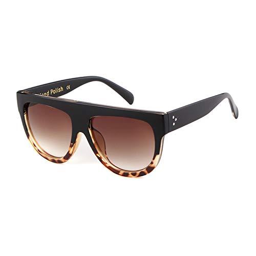 ADEWU Mujer Gafas de Sol de Gran Tamaño con Marco Plano Cuadrado Retro Degradada Lente Leopardo2