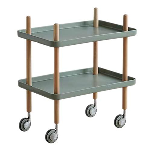 Tavolino da caffè Ad Angolo Piccolo Mobile con Contenitore A Doppio Strato, Comodino Moderno E Semplice con Tavolino Laterale con Ruote,Verde