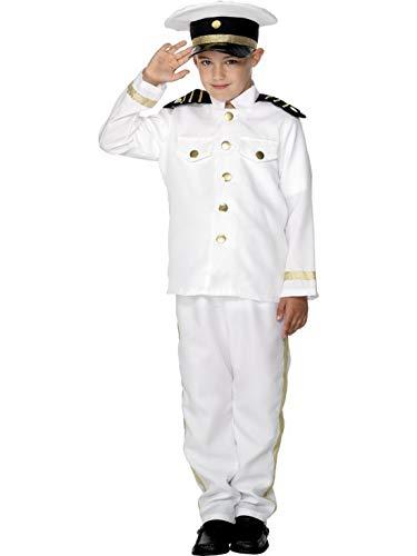 Luxuspiraten - Jungen Kinder Schiffs Kapitän Kostüm mit Jacke, Hose und Mütze, perfekt für Karneval, Fasching und Fastnacht, 122-134, Weiß
