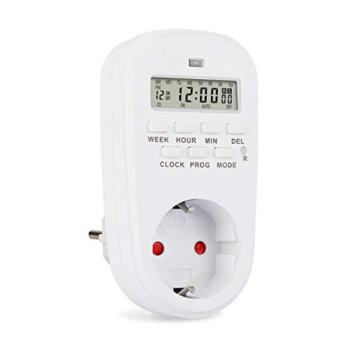Nakeey Digitale Zeitschaltuhr Steckdose, Elektrische Zeitschaltuhr Steckdose 20 konfigurierbaren Elektronische Timer mit LCD-Display,Plug-In-Timer-Schalter Mit 2 Reset-Pins, 16A / 3600W 12/24h