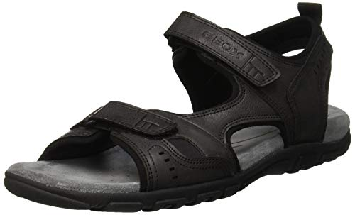 Geox Uomo Sandal Strada A, Sandalias con Punta Abierta para Hombre, Black (Black C9999), 42 EU