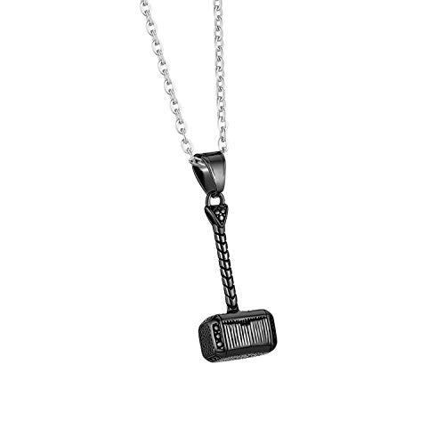 Cupimatch Herren Edelstahl Halskette, Thor Hammer Anhänger Hochglanz Poliert mit 55cm Kette, Schwarz