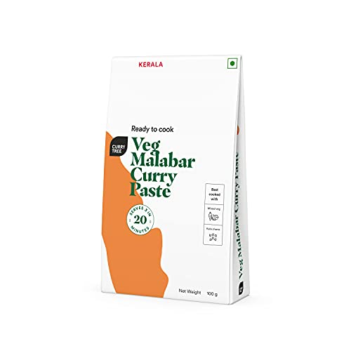 Veg Malabar Curry Paste by Curry Tree | Cooking Paste | 3-Step Easy to Cook in Under 20 Minutes | No Preservatives | No Added Sugar | No Added Colours | Paneer / Jackruit | 100g Pouch Feeds 2