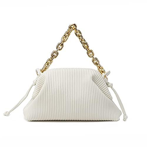 Women Dumpling Shoulder Bag Designer Chain Handbag Soft Cloud Crossbody Pouch Bag Ruched Clutch Purse
