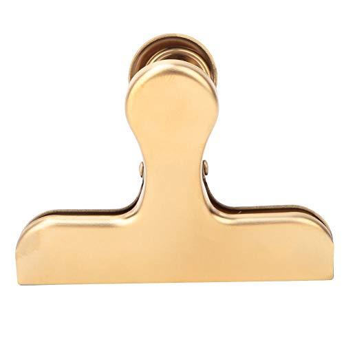 Clip de sellado, clip para cuaderno, pinza de latón galvanizado con pinza de ropa de acero inoxidable para alimentos de cuaderno(Golden T clip)