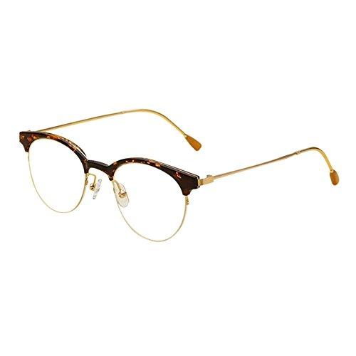 Meijunter Vintage Nerd Brille Semi-randlos Metall Rahmen Feder Scharnier Optische Gläser für Herren Damen