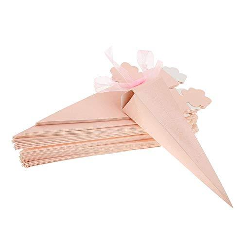 Mallalah 50 PCS Cajas Conos de Bombones para Guardar Arroz, Caramelos, Galletas Pequeñas Regalo, Detalle, Recuerdo, Decoración, Favor para Invitados de Boda (rosa)