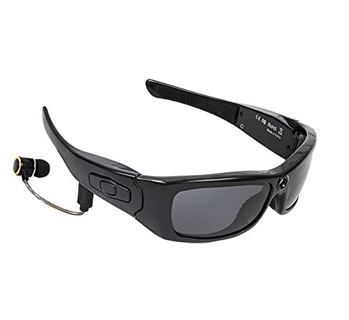 ZOUSHUAIDEDIAN Gafas de sol negras con hilos azul diente auricular estéreo de auriculares del reproductor de música Gafas de sol for teléfonos inteligentes o función Blue Tooth, Ciclismo Recorder, Neg