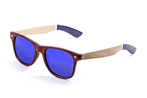 Ocean Sunglasses Beach Gafas de Sol Bamboo Brown Frame/Wood Natural White/Blue Arms/Revo Blue Lens