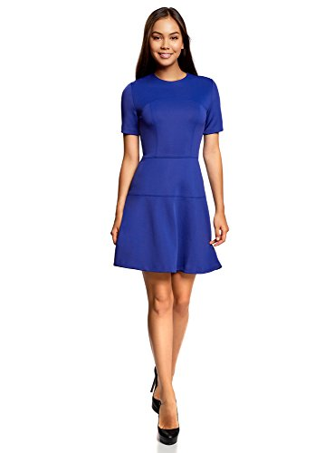 oodji Ultra Damen Kleid mit Ausgestelltem Rock, Blau, DE 34 / EU 36 / XS