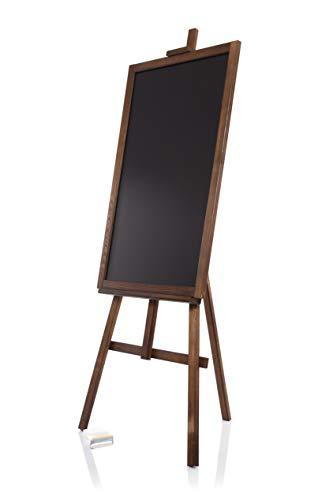 AZZAP Kundenstopper WETTERFEST Staffelei 140cm Holz Tafel Aufsteller Werbetafel Holztafel STANDSTAFFELEI Dreifuss Dunkelbraun