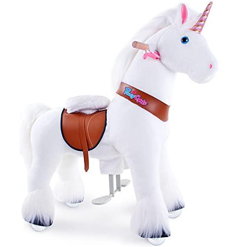 PonyCycle Officiel Classique Modèle U 2021 Montez sur la Licorne Animal Qui Marche Peluche Licorne Blanche à roulettes avec Frein pour 4 à 9 Ans Petit Ux404