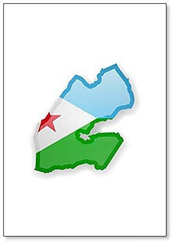 Kühlschrankmagnet Dschibuti Flagge & Umrisse des Landes, Kühlschrankmagnet