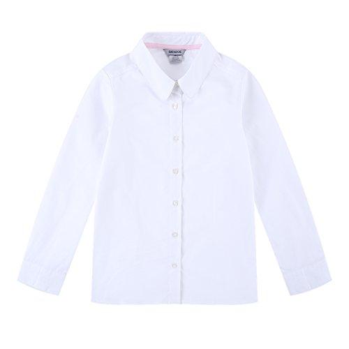 Bienzoe Mädchen Schuluniformen Oxford Langarmshirts Blusen Weiß L