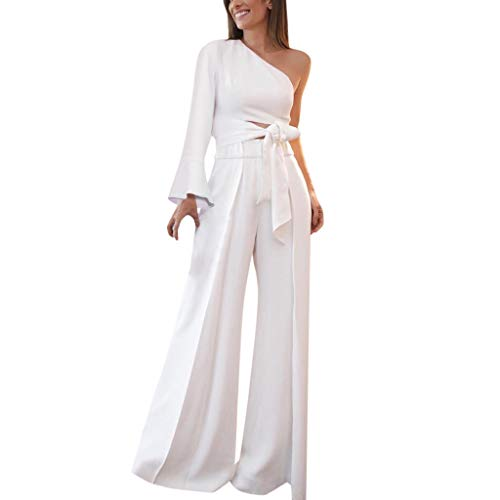 Women's 2 Pieces Outfit White Sleeveless Tube Top Palazzo Long Pants High Waist Jumpsuits