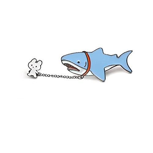 ROTOOY Alfileres y broches de Esmalte de Metal de Conejo y tiburón para Mujeres, Hombres, alfileres de Solapa, Mochila, Bolsos, Insignia de Sombrero