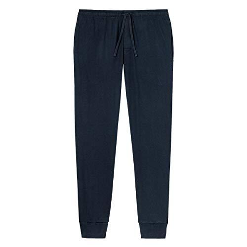Schiesser Herren Schlafanzughose Mix und Relax Lang Bündchen, Blau (Dunkelblau), 52 (Herstellergröße: L)