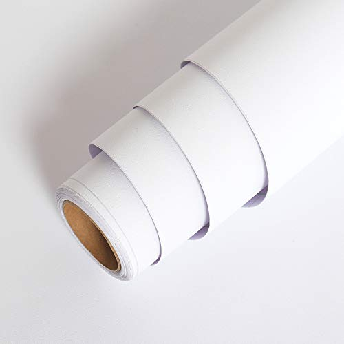 LaCheery 24'x160' Solid Color Matte Textured White Contact Paper Vinyl Adhesive Paper Peel and Stick Wallpaper Solid Contact Paper Waterproof Removable Wall Paper for Countertops Cabinets Drawer