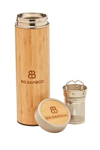 Big Bamboo - Infusore/thermos per tè isolato e sostenibile, in acciaio inox, con isolamento a vuoto, per bevande calde e fredde, con infusore/filtro in acciaio inox, capacità 500 mL